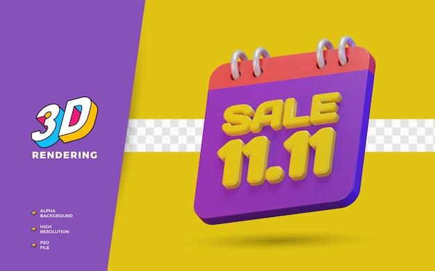 11.11 giorno dello shopping sconto vendita promozione 3d render object