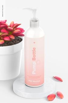 Bottiglia arrotondata con pompa da 12 once con mockup di piante in vaso