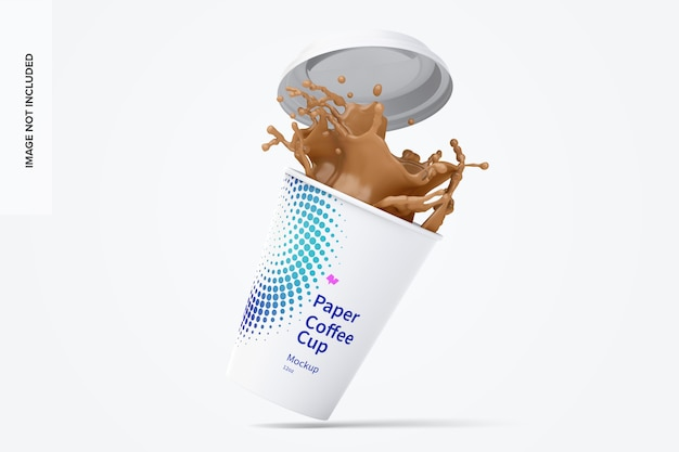 Mockup di tazza da caffè in carta da 12 once con splash