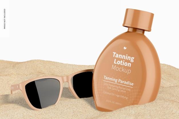 Bottiglia di lozione abbronzante da 13,5 once con mockup di occhiali da sole