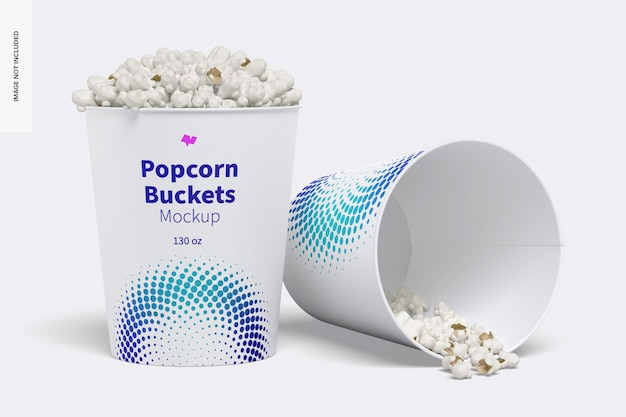 Mockup di secchi per popcorn da 130 once
