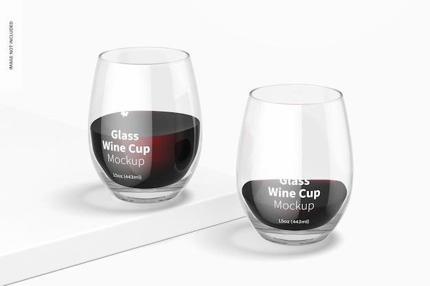 Mockup di bicchieri da vino in vetro da 15 once