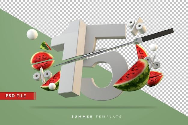 15 per cento e rendering di frutta anguria a fette