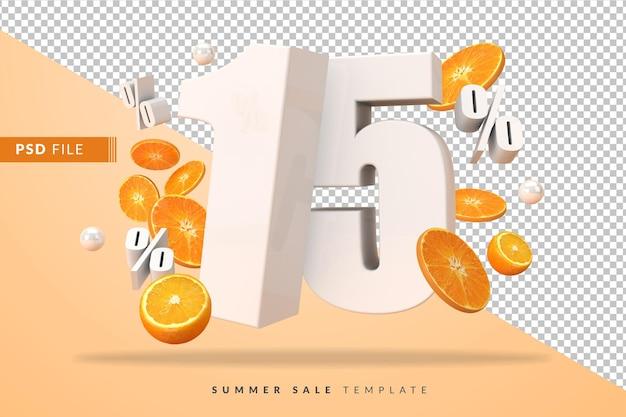 15 per cento di concetto di vendita estiva con arance tagliate in 3d rendering