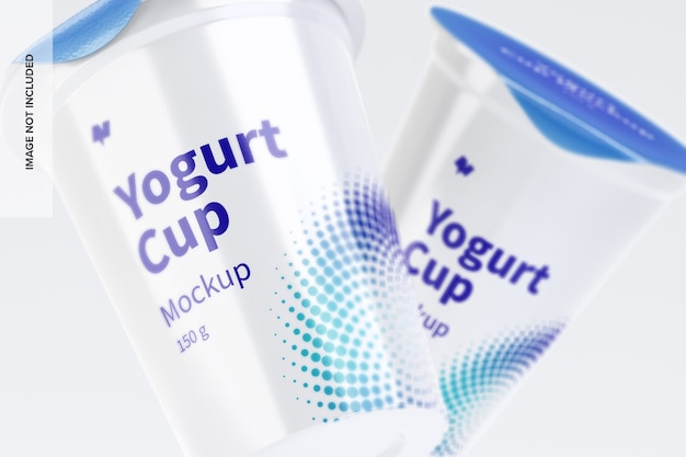 Primo piano del mockup di tazze di yogurt da 150 g