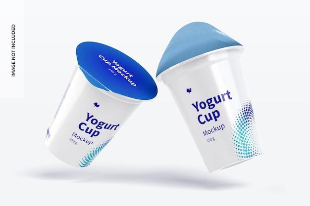 150 g yogurt cups mockup falling
