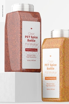 Mockup di bottiglie di spezie in pet trasparente da 16 once, prospettiva