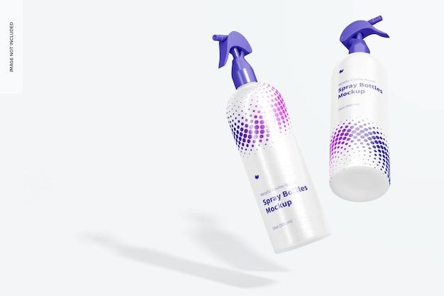 Mockup di bottiglie spray tonde metalliche cosmo da 16 once, cadenti