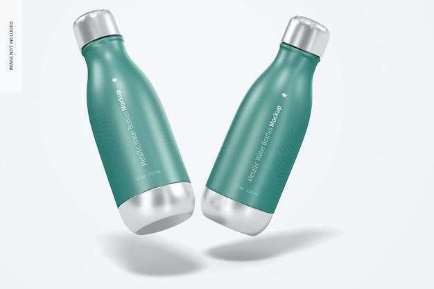 Mockup di bottiglia d'acqua metallica da 17 once, galleggiante
