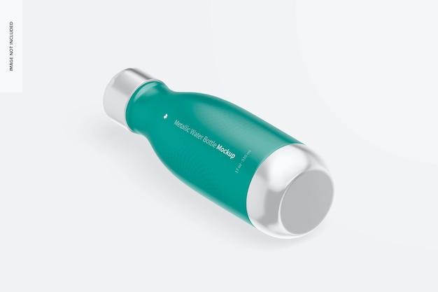 Mockup di bottiglie d'acqua metalliche da 17 once, vista isometrica a sinistra