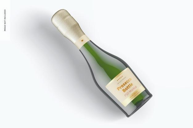 Mockup di bottiglia di prosecco da 187 ml, vista dall'alto