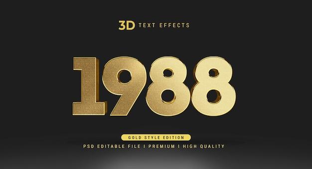 Modello di mockup di effetto di stile di testo 3d 1988