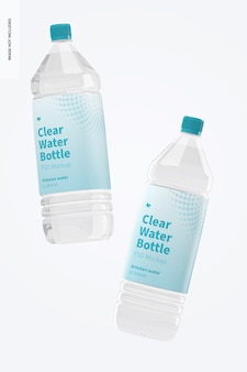Mockup di bottiglie d'acqua trasparente da 1 litro, galleggianti