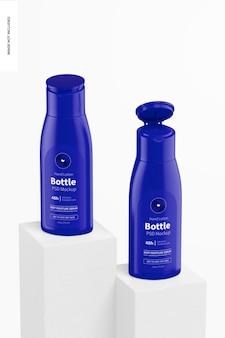 Mockup di bottiglie di lozione per le mani da 2,5 once, chiuse e aperte