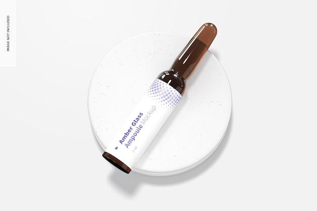 Mockup di ampolla in vetro ambrato da 2 ml, vista dall'alto
