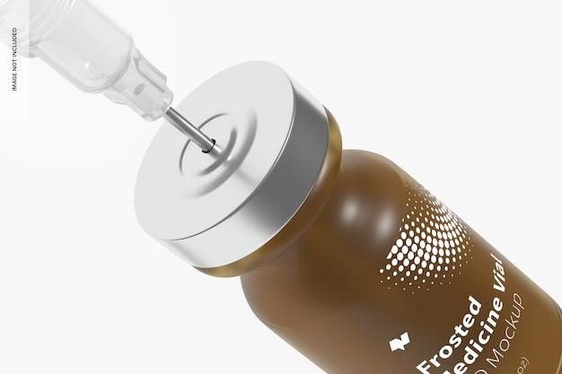 Mockup di bottiglia di fiala di medicina in vetro smerigliato da 2 ml, da vicino