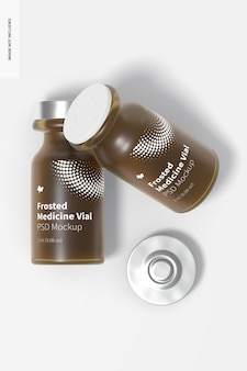 Mockup di flaconi per medicinali in vetro smerigliato da 2 ml, vista dall'alto