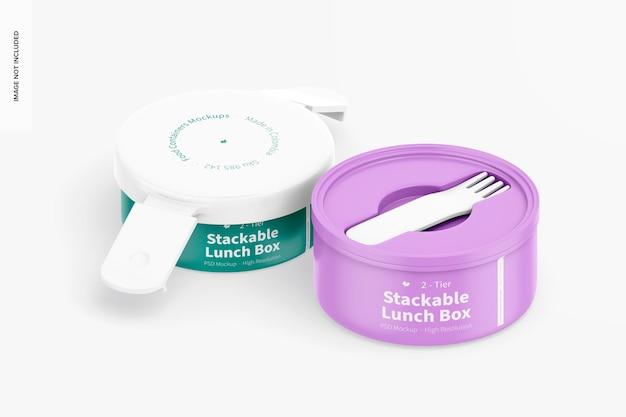 Mockup di scatola da pranzo impilabile a 2 livelli, vista isometrica aperta