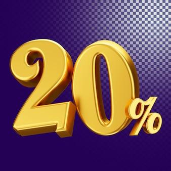 20 percento di sconto sullo stile di testo 3d rendering concetto isolato
