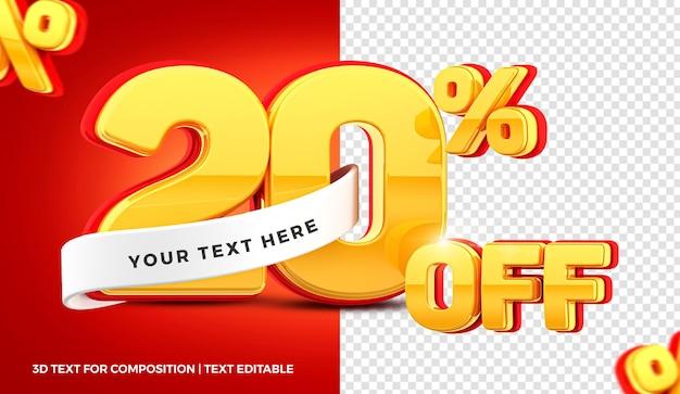 Offerta del 20 percento nel rendering 3d isolato