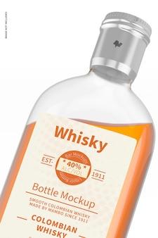 Mockup di bottiglia di whisky da 200 ml, primo piano