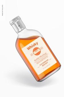 Mockup di bottiglia di whisky da 200 ml, appoggiato