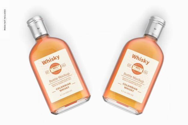 Mockup di bottiglie di whisky da 200 ml, vista dall'alto