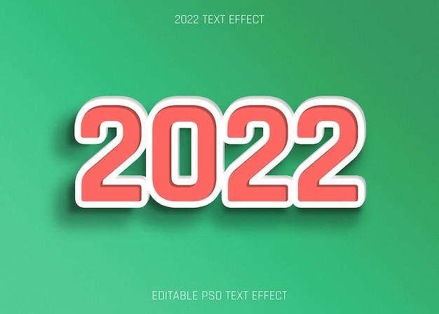 2022 effetto testo modificabile estruso su sfondo verde