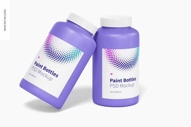 Mockup di bottiglia di vernice da 22 once, appoggiato