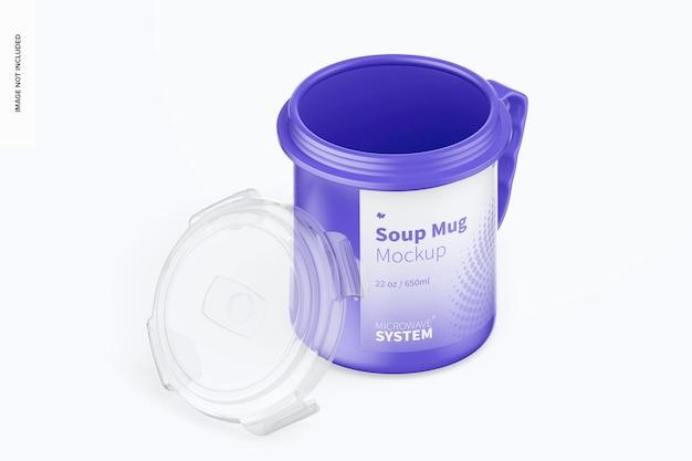 Mockup di tazze da zuppa da 22 once, vista isometrica