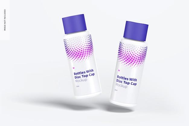 Bottiglia di plastica da 22 ml con mockup del tappo superiore del disco, galleggiante