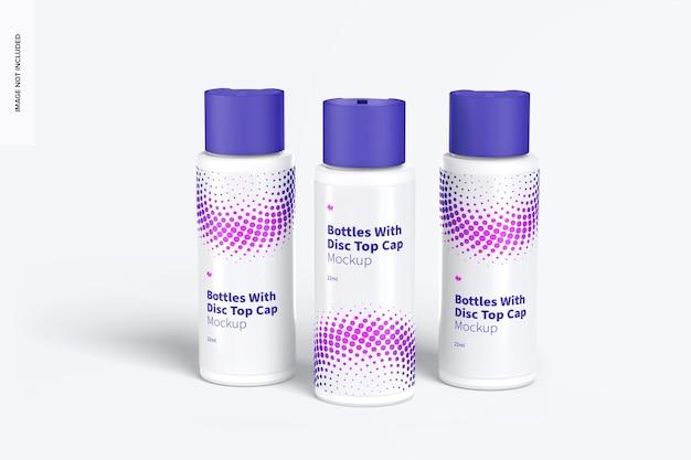 Bottiglie di plastica da 22 ml con mockup del tappo superiore del disco