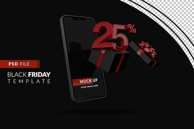 Promozione del venerdì nero del 25% con mockup di smartphone e confezione regalo nera