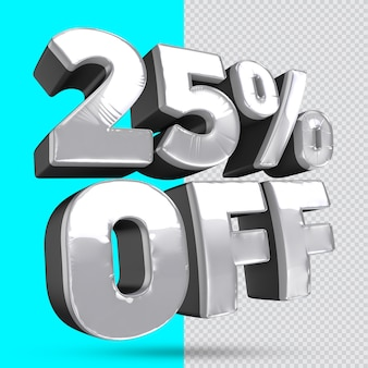 Offerta del 25% nel rendering 3d isolato