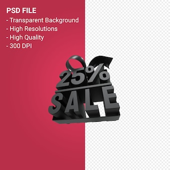 25% di vendita con fiocco e nastro 3d design su sfondo isolato