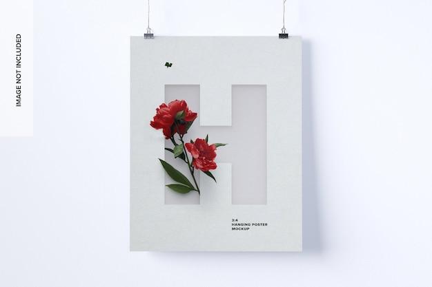 3: 4 mockup di poster da appendere con ritratto