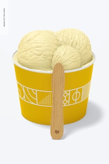 Mockup di tazza per gelato in carta da 3 once