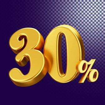 30 percento di sconto sullo stile di testo 3d rendering concetto isolato