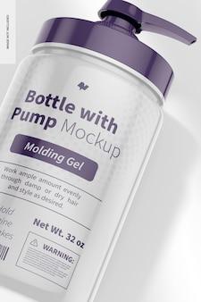 Bottiglia da 32 once con pompa mockup, primo piano
