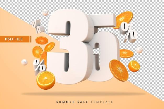 Il 35 per cento del concetto di vendita estiva con arance tagliate in 3d rendering