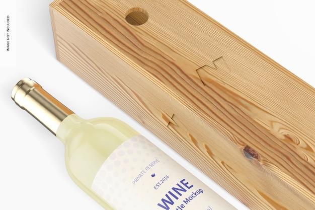 Mockup di bottiglia di vino da 350 ml, primo piano