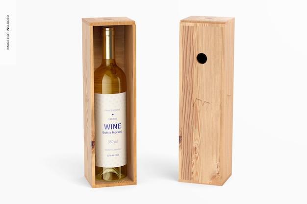 Mockup di bottiglia di vino da 350 ml, prospettiva