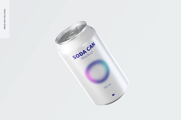 355 ml soda can mockup, falling