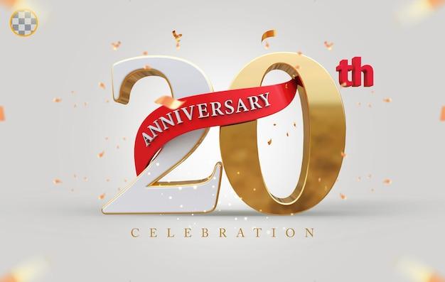 3d 20° anniversario con stile dorato