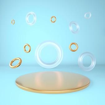 3d sfondo astratto, mock up podio della forma della geometria della scena per la visualizzazione del prodotto, illustrazione 3d.