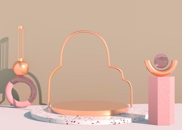 Sfondo astratto 3d, mock up podio della forma della geometria della scena per la visualizzazione del prodotto. rendering 3d.