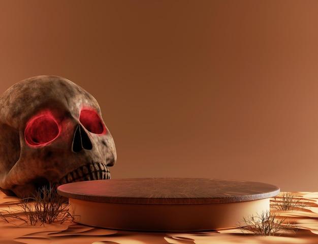 Podio di visualizzazione di prodotti di morte astratta 3d con teschio e sabbia