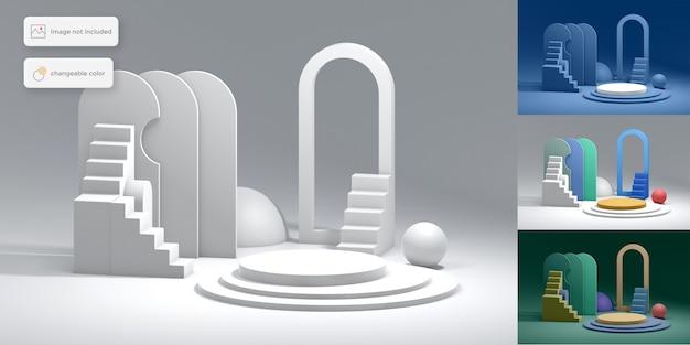 Posizionamento geometrico astratto del prodotto del podio 3d