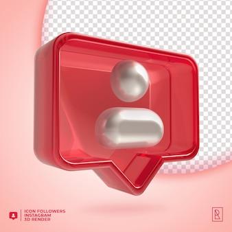 Icona di instagram seguaci acylic 3d isolata