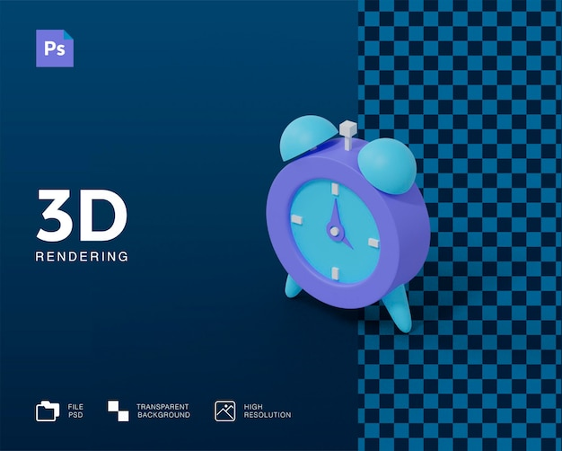 Rendering dell'icona della sveglia 3d isolato